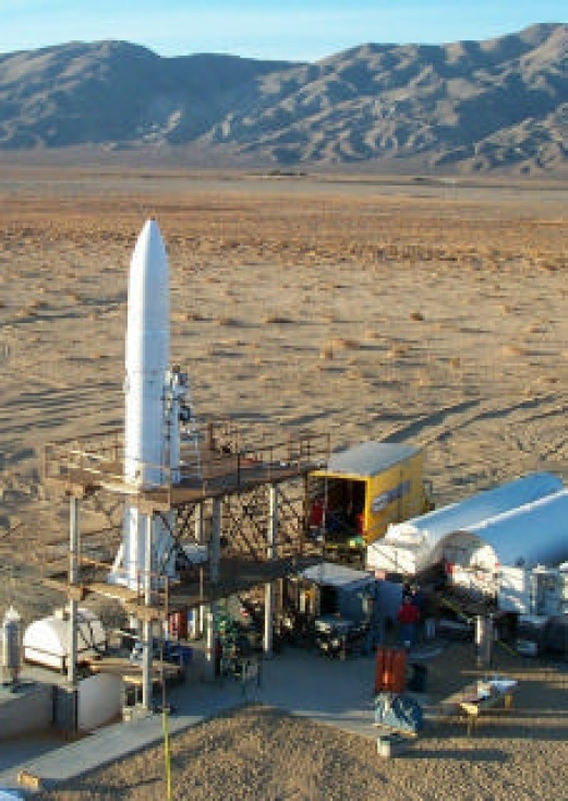 The SR-XM Vehicle during final cold flow and hot fire test site.