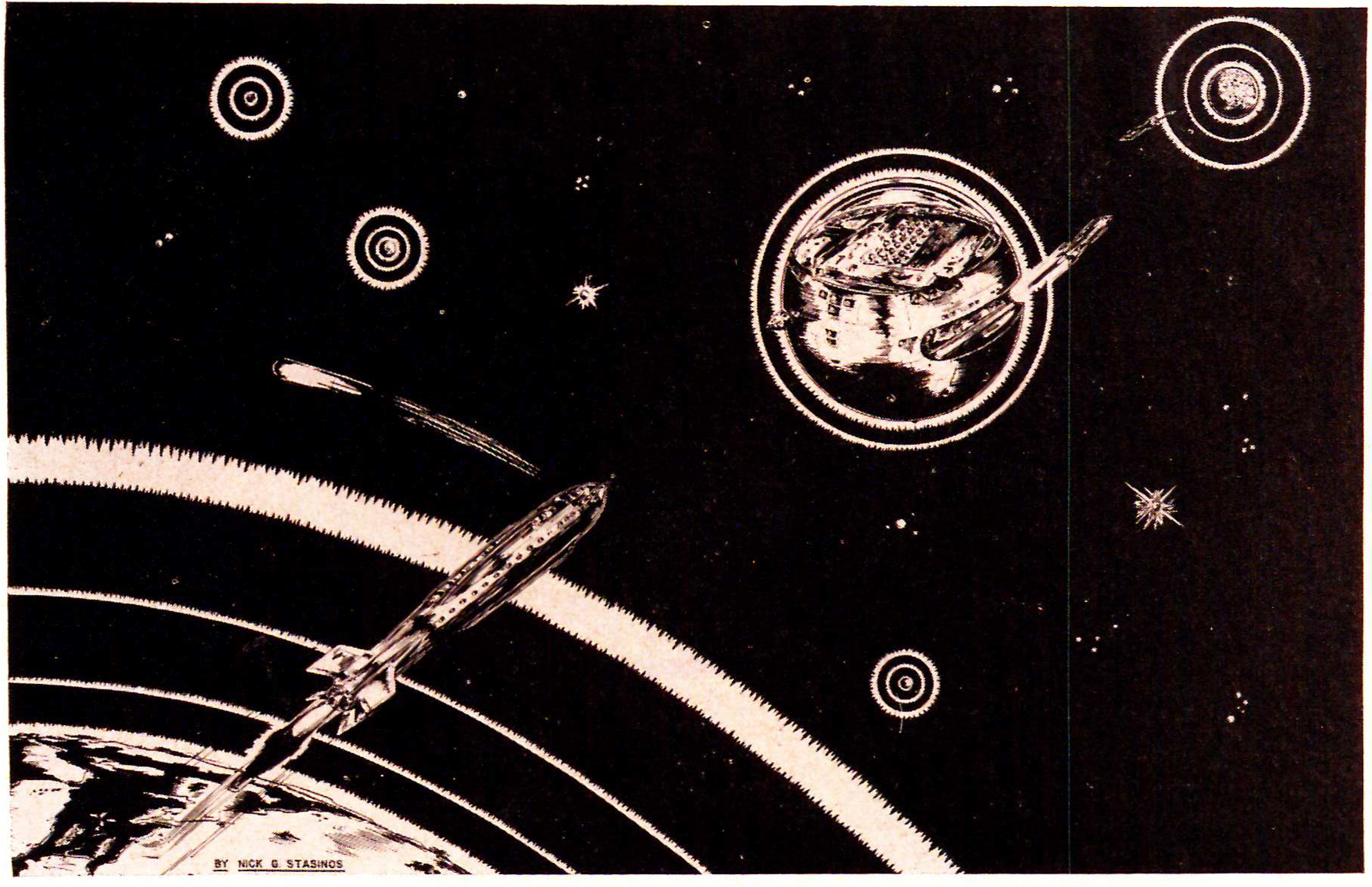 """""""Space Station"""" drawn by RRS Staff Artist Nick Stasinos. The space station is described in """"Spaceward!"""" in Astro-Jet No.23 Winter, 1948"""