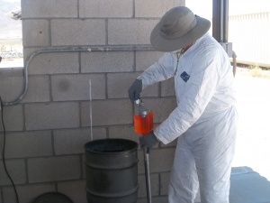 Loading the micrograin propellant mixture into the alpha propellant tube