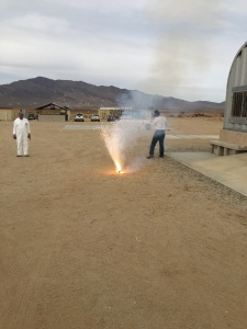 Composite propellant sample burn at MTA