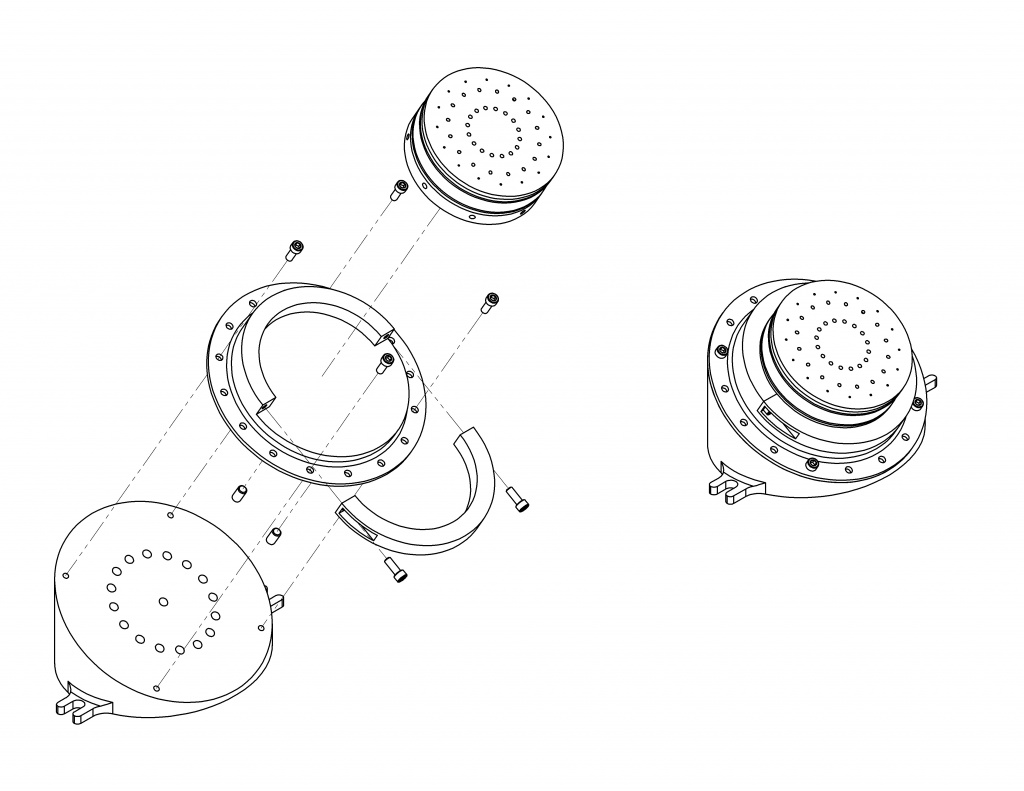 Slanted fixture assembly for drilling injector holes