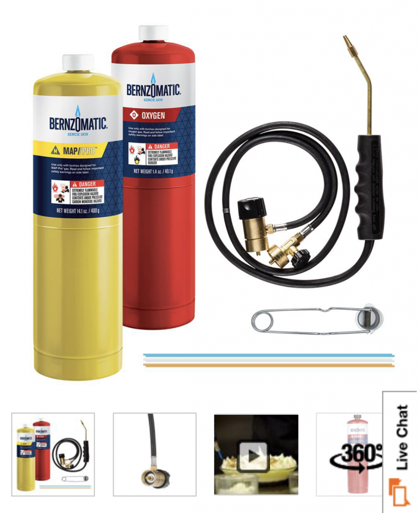 Bernzomatic brazing torch, WK5500 model, from Home Depot
