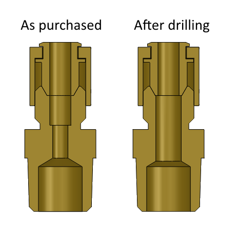 Cross-section of a compression tube fitting, before and after drilling